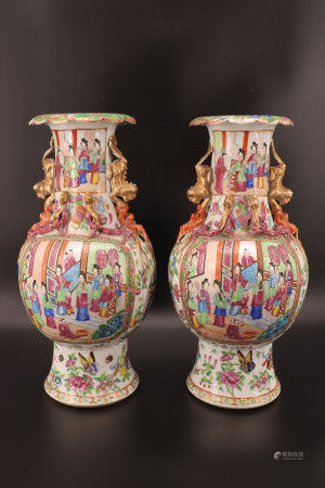 China - Rare pair of vases in Canton decor of characters early 19th