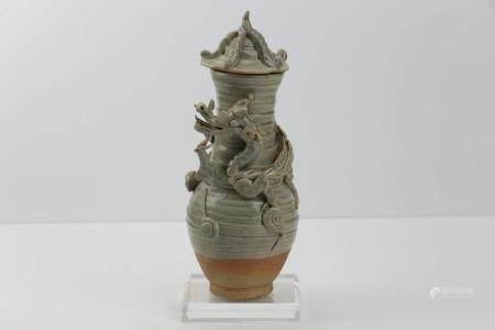 Urne funéraire couverte en fin grès porcelaine