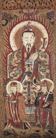 Suite d'un même ensemble de 13 grandes peintures Taoïstes