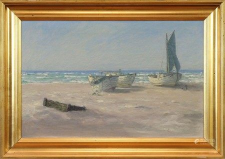Oil on Canvas, Three Boats on Shore