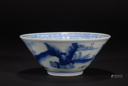 Chinese Blue and White 'Figures' Bowl, Qing Dynasty