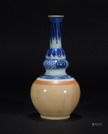 Chinese Blue and White Double Gourd Vase, Qing Dynasty