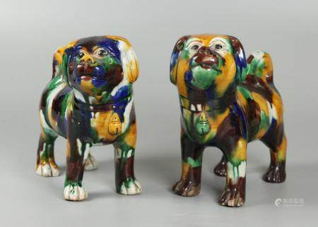 2 Chinese porcelain dogs, possibly 19th c.
