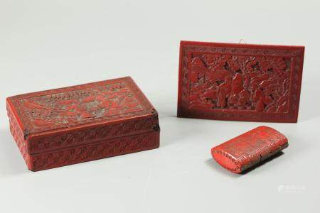3 cinnabar articles, possibly Republican period/19th c.