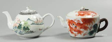 2 Chinese porcelain teapots, possibly Republican period/19th c.