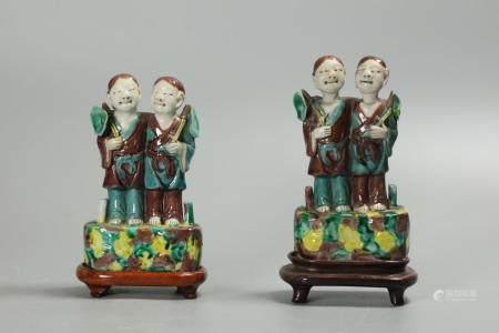 pair of Chinese biscuit-glazed hoho twins, possibly 19th c.