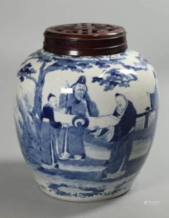 Chinese blue & white porcelain cover jar, possibly Qing dynsty