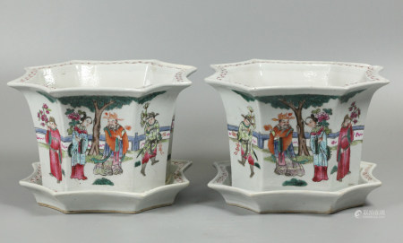 pair of Chinese porcelain planters w/ dishes