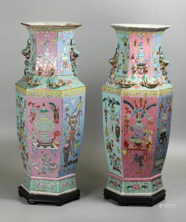pair of Chinese porcelain hexagonal vases, possibly 19th c.