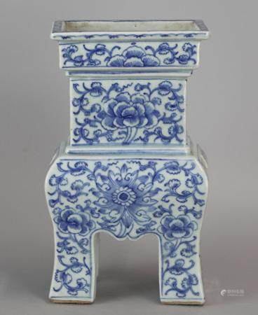Chinese blue & white porcelain censer, possibly 19th c.
