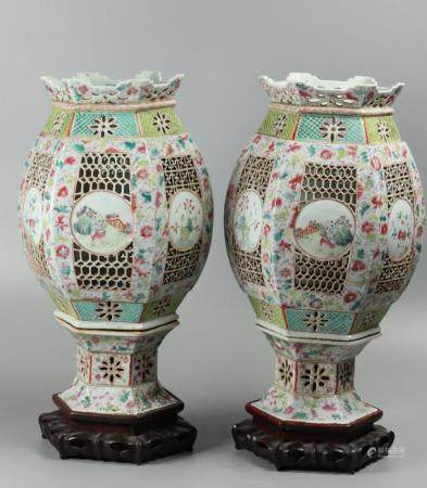 pair of large Chinese porcelain lanterns, possibly 19th c.
