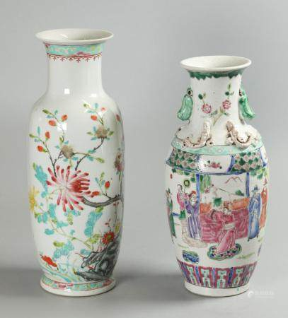 2 Chinese porcelain vases, possibly Republican period/19th c.