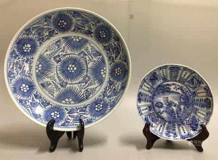 2 Chinese blue & white plates, possibly 19th c.