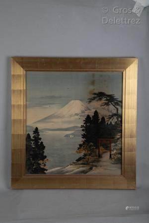 Japon, vers 1900 Paysage du Japon, impression sur soie. Vue du Mont Fuji depuis le lac Yamanaka