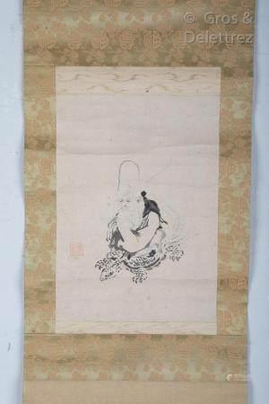 Japon Kakemono à l'encre, représentant Fukurukuju sur sa tortue.  Dim. 27,6 x 19,8 cm