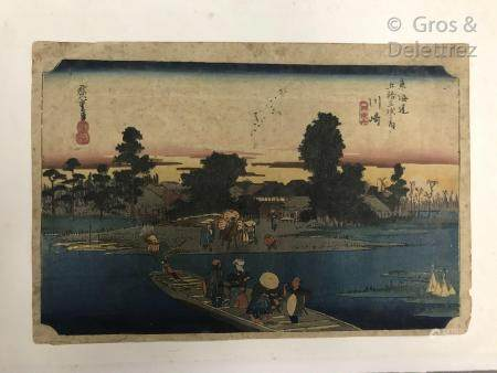 Hiroshige (1797-1858) Quatre estampes oban yoko-e de la série des 53 stations du Tokaido, dont