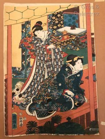 Japon, XIXe siècle Deux estampes en feuille oban tate-e, l'une par Eisen (1790-1848) : courtisa