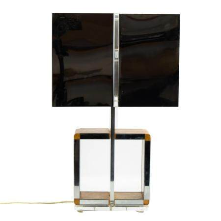 Modern MCM Lucite Chrome Burl Wood Desk Table Lamp