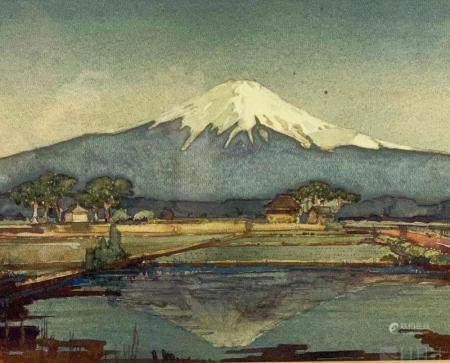 John L Skinner 20c Japanese Landscape Watercolor