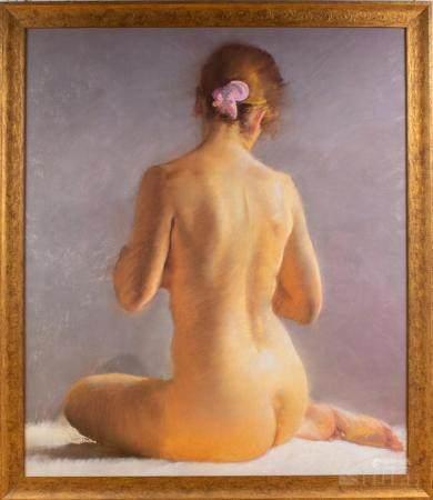 Vintage Impressionist Nude Woman Print On Panel