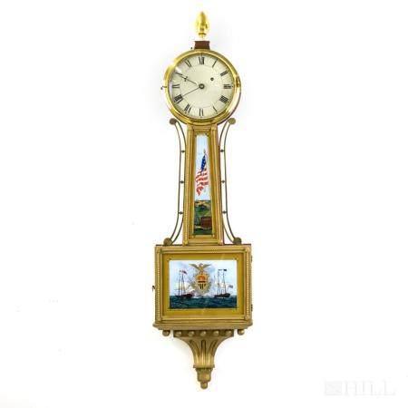 American Federal Style Banjo Clock Eglomise Panels