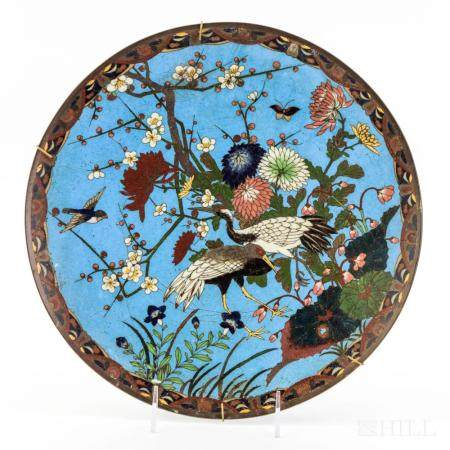 """Early Japanese Wire Cloisonne Enamel Charger 10"""""""