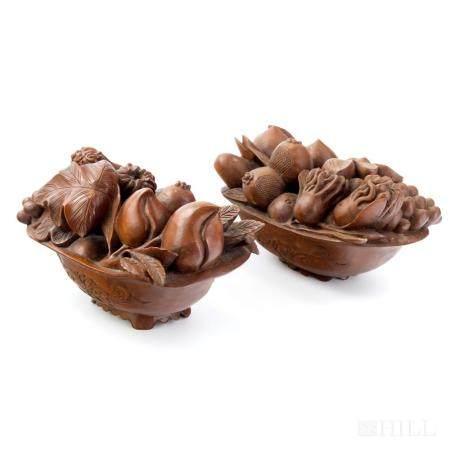 Japanese Pair Carved Wood Bowl w/ Fruit & Nuts