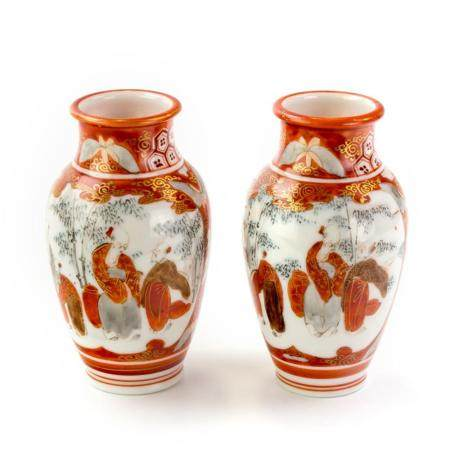 Pair Signed Antique Japanese Porcelain Bud Vases
