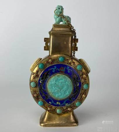 Chinese Gilt Silver Gemstone Foo Dog Lidded Urn