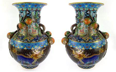 Chinese Pair Large Cloisonne Enamel Dragon Vases