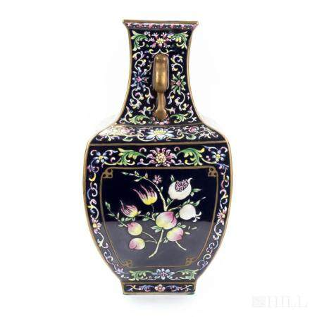 """Old Chinese Qianlong Famille Rose 13"""" Faceted Vase"""