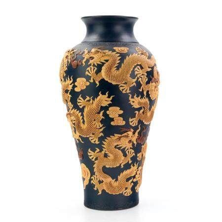 Chinese Character Marked Pottery 5 Toe Dragon Vase