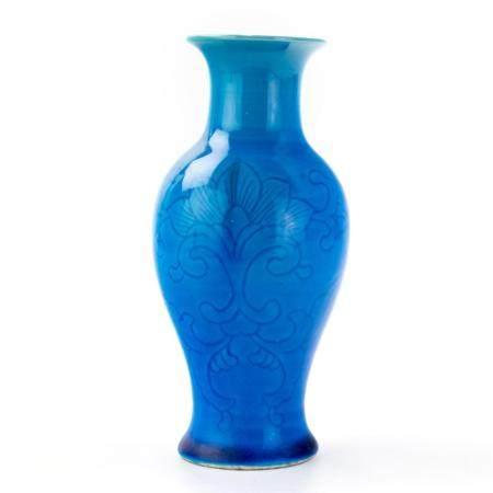 Vintage Chinese Turquoise Glazed Lotus Flower Vase
