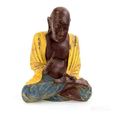 Old Asian Polychrome Carved Wood Buddha Sculpture