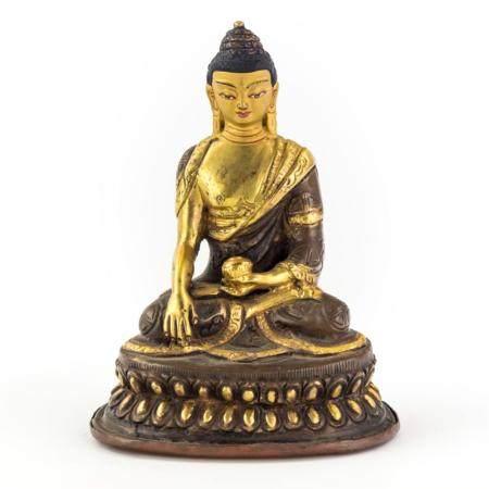 Chinese Gold Gilt Bronze Buddha Statue On Lotus