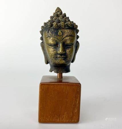 Old Tibetan Chinese Asian Bronze Buddha Bust Head