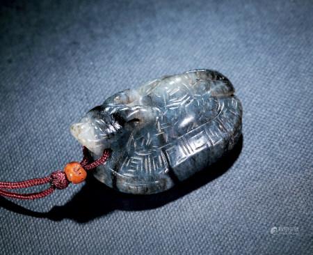 漢 灰白玉龍龜