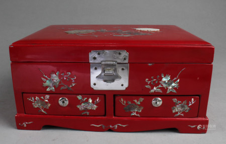 A Red Color Lacquer Jewelry Box with Mother-of-Pearl Inlay