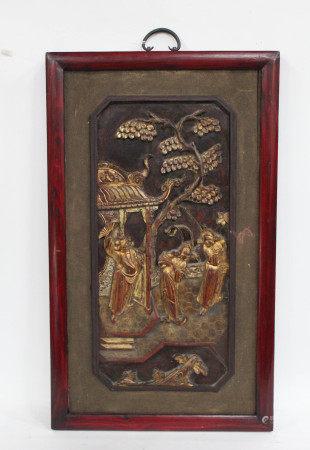 Antique Framed Carved Wooden Plaque