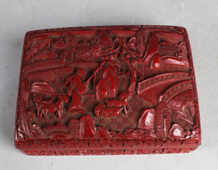 Antique Chinese Cinnabar Lacquer Trinket Box