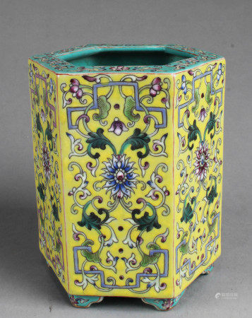 Chinese Octagonal Shaped Famille Jaune Porcelain Brushpot
