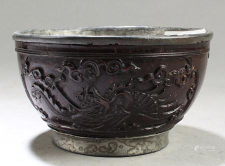 Chinese Antique Coconut Carved Bowl