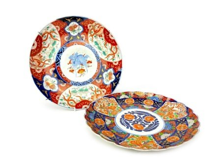 A LOT OF TWO JAPANESE IMARI PLAQUES