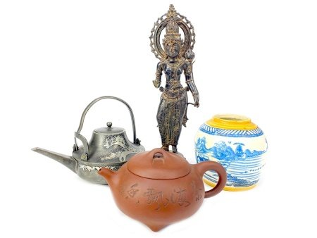 A CHINESE YI XING TEA POT, BLUE AND WHITE JAR, BRONZE FIGURE AND A PEWTER TEA POT