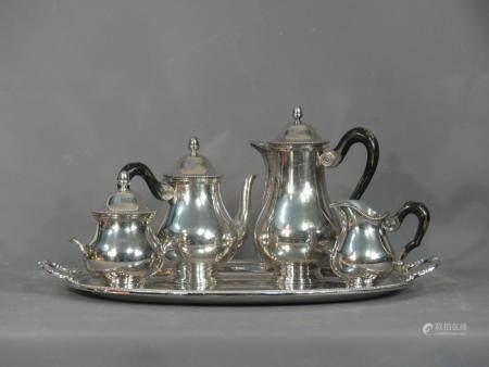 Service à thé café en métal argenté