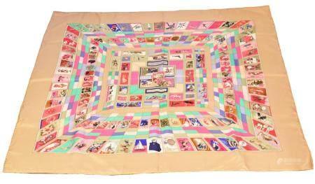 "A Hermes ""Correspondance"" silk scarf by Cathy Latham,"