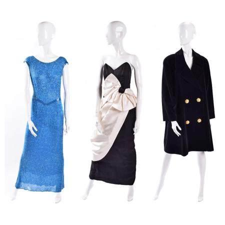 Three designer dresses,