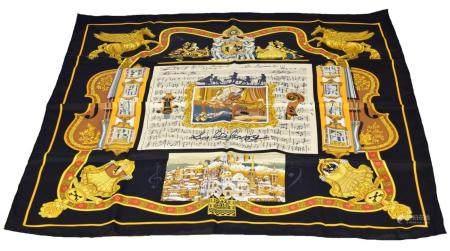 "A Hermes ""Salzburg"" silk scarf by Loïc Dubigeon,"