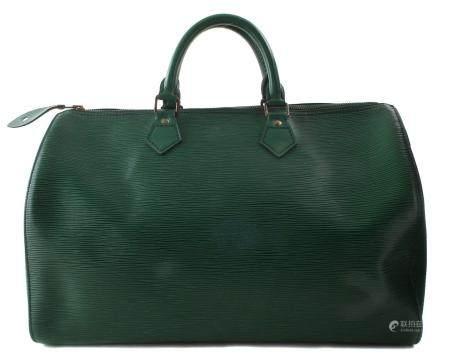 A Louis Vuitton green Epi Speedy 35 handbag,