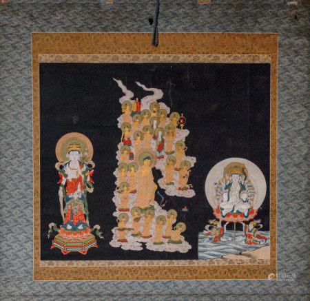 十七世紀阿彌陀佛來迎十一面觀音圖 立軸